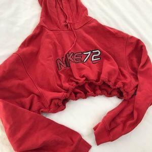 Red Nike drawstring crop hoodie